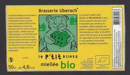 Etiquette De Bière Miellée Bio  -  Le P'tit Klintz  -  Brasserie Ubérach à Uberach  (67) - Beer