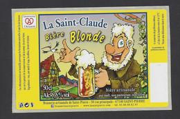 Etiquette De Bière Blonde  -  La Saint Claude -  Brasserie De Saint Pierre  à Saint Pierre (67) - Beer