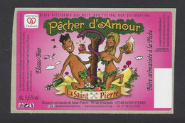 Etiquette De Bière à La Pêche  -  Pêcher D'Amour -  Brasserie De Saint Pierre  à Saint Pierre (67) - Beer
