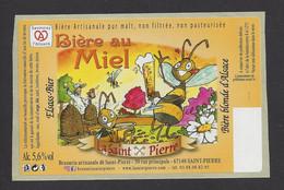 Etiquette De Bière Au Miel  -  La Saint Pierre -  Brasserie De Saint Pierre  à Saint Pierre (67) - Beer