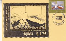 ARGENTINA. PICASSO, MUJER ACOSTADA. 100 AÑOS MUSEO NACIONAL DE BELLAS ARTES. 1996, CARTE MAXIMUM FDC. - LILHU - Picasso