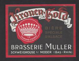 Etiquette De Bière   -  Kronnen Gold  -  Brasserie Muller à Schweighouse Sur Moder  (67) - Beer