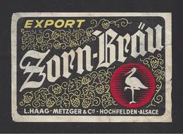 Etiquette De Bière Export  -  Zorn Brau  -  Brasserie L. Haag Metzger à Hochfelden   (67) - Beer