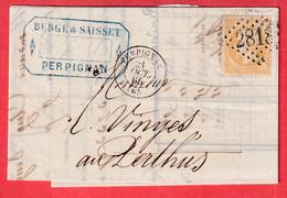 N°21 GC 2818 PERPIGNANS PYRENEES ORIENTALES POUR LE PERTHUS CAD TYPE 22 AU DOS - 1849-1876: Klassik