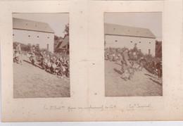 2 Photos Environ De Mayenne Le 2 E Bataillon Gagne Son Emplacement De G H A Cheval Capitaine Jacquimot   Réf 5444 - War, Military