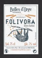 étiquettes De Bière Fumée  -  Folivora  -  Brasserie Bulles D'Orge à Oullins (69) - Beer
