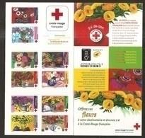 2018 Carnet Adhésif - BC 1548 Croix Rouge -LES FLEURS 10 Timbres - NEUF - LUXE ** NON Plié - Rotes Kreuz