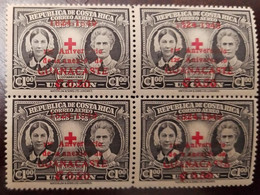 L) 1945 COSTA RICA, , FLORENCE NIGHTINGALE, EDITH CAVELL, 60 ANNIVERSARY OF THE COSTA RICAN RED CROSS, OVERPRINT, IMPERF - Costa Rica