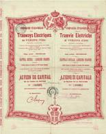 Titre Ancien - Compagnie Italo-Belge Des Tramways De Vérone (Ville) - Titre De 1905 - N° 01096 - - Railway & Tramway