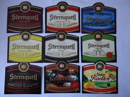 9 Etiketten, Sternquell Brauerei, Plauen, Sachsen, Germany - Beer
