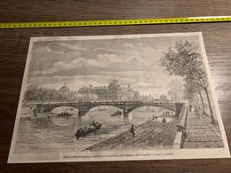 1858 MI2 GRAVURE Pont Du Jardin Des Tuileries En Construction Sous La Direction Ingénieur En Chef De Lagalisserie - Collections