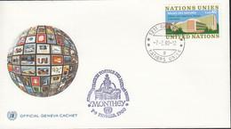 UNO GENF 22, Gestempelt Mit Nebenstempel: Monthey 1980 - Covers & Documents