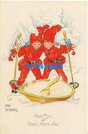 160135 ART ARTE SIGNED AINA STENBERG TWO CHILDREN IN SKY POSTAL POSTCARD - Zonder Classificatie