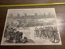 1858 MI2 GRAVURE Revue Des Troupes De La Garnisonn De Paris Passée Au Champ De Mars Maréchal Magnan - Collections