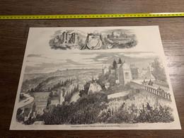 1858 MI2 GRAVURE Saint Germain En Laye Terrasse Et Pavillon De Gabrielle D Estrées - Collections