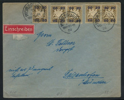 Bavaria 1920 Registered Letter From Würzburg Franked With 20 On 3pf Yellow-brown Single + Two Pairs, MiNr. 177 II - Bavaria