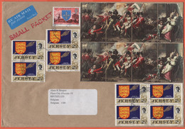 JERSEY - 2004 - 17 Stamps - Small Packet - Air Mail - Medium Envelope - Viaggiata Da Jersey Per Bruxelles, Belgium - Jersey