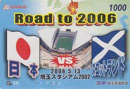 Carte JAPON - Sport - FOOTBALL  - JAPAN VS SCOTLAND- Stade Stadium - SOCCER Prepaid Card - FUSSBALL - 1380 - Deportes