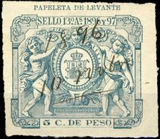 "ESPAGNE / SPAIN / ESPAÑA Fiscales COLONIAS (Antillas) 1896/97 5c Verde Fiscal (recortado) Para ""PAPELETA DE LEVANTE"" - Cuba (1874-1898)"