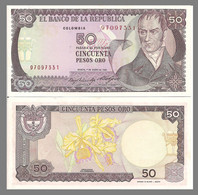 Colombia P425b, 50 Peso, Hero Camilo Torres Tenorio / Orchids 1986 UNC See UV - Colombia