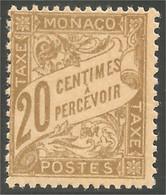 630 Monaco 1926 Yv 18 Taxe Postage Due 20c Bistre MH * Neuf CH Très Légère (MON-339) - Segnatasse