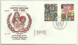 UNS30108 UN United Nations NY 1983 FDC 35th Anniversary Of The Universal Declaration Of Human Rights - FDC