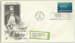 UNS30112 UN United Nations NY 1966 FDC Pope Paul VI Visit The U.N. ( One Definitive Stamp $1 ) - FDC