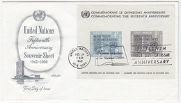 UNS30102 UN United Nations NY 1960 MS Fifteenth Anniversary Of United Nations FDC - FDC