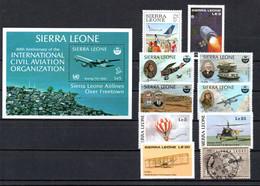 T1-16 Sierra Leone 9 Timbres + BF 29 ** + 1 Timbre Oblitéré  A Saisir !!!  Avions - Sierra Leone (1961-...)