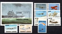 T1-16 Sierra Leone 9 Timbres + BF 120 ** A Saisir !!!  Avions - Sierra Leone (1961-...)