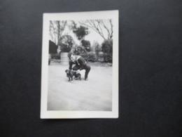 2. Weltkrieg WW2 Original Foto Soldat Der Wehrmacht / Marine / Matrose In Ausgehuniform Mit Kleinem Hund - War, Military