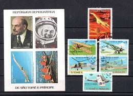 T1-17 Sao Tome Et Principe N° 502 + 572 à 576 Oblitérés + BF 4 ** A Saisir !!!  Avions - Sao Tome Et Principe