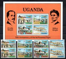 T1-17 Ouganda N° 164 à 167 + 184 à 187 + BF 11 ** A Saisir !!!  Avions - Uganda (1962-...)