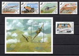 T1-17 Ouganda N° 358 à 361 + 635 + BF 109 ** A Saisir !!!  Avions - Uganda (1962-...)