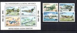 T1-18 Territoire Britannique De L'Océan Indien N°135 à 138 + BF 4 ** A Saisir !!!  Avions - British Indian Ocean Territory (BIOT)