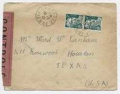 GANDON 2FRX2 LETTRE CHAFROUX VIENNE 11.7.1945 POUR TEXAS USA CENSURE - WW II