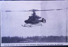 ► AVIATION  (1958)   Hélicoptère Monoplace KAMAN K17  Vol D'Essai Aux Etats Unis  - Coupure De Presse (Encart Photo) - Historical Documents