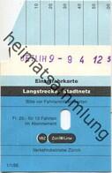 Schweiz - Zürich - Verkehrsbetriebe Zürich - Einfache Fahrt Im VBZ-Stadtnetz - VBZ Züri-Linie - Fahrkarte 1988 - Europe