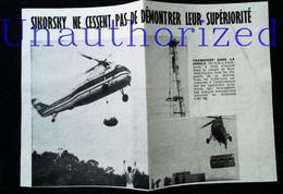 """► AVIATION (1958) Hélicoptère Sikorsky  """"World Wide Air Services Ltd"""" (Nouvelle Guinée) Coupure De Presse (Encart Photo) - Historical Documents"""
