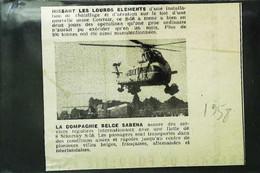 ► AVIATION (1958) Hélicoptère Sikorsky  S-58  à L'Usine Convair Et Compagnie SABENA  Coupure De Presse (Encart Photo) - Historical Documents