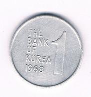 1 WON 1968 ZUID KOREA /4021/ - Coreal Del Sur
