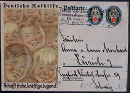 DR Nothilfe Ganzsache P209 Gelaufen Mit ZF Der Gleicher Ausgabe, Karlsruhe Nach Zürich (Schweiz) (1931) - Stamped Stationery