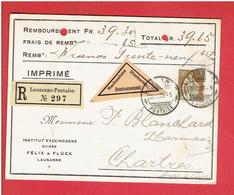 INSTITUT VACCINOGENE FELIX ET FLUCK 1909 LAUSANNE PONTAISE SUISSE CARTE DE REMBOURSEMENT - Switzerland