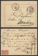 """EP Au Type 5ctm Mauve Obl Double Cercle """"Gand (station)"""" > Malines / Vignette """"Imprimerie Lithographie J.B.D. Hemesoet"""" - Postcards [1871-09]"""