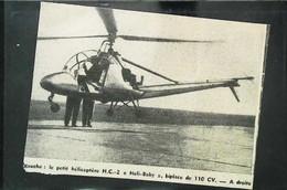"""► AVIATION  (1958)   Hélicoptère Monoplace H.C. """"Heli Baby"""" 110 Cv - Coupure De Presse (Encart Photo) - Historical Documents"""