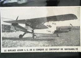 ► AVIATION  (1958) Aerodrome Brétigny Sur Orge - Avion Biplace Léger L.S. 50 - Coupure De Presse (Encart Photo) - Historical Documents
