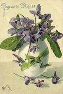 Carte Gaufrée Joyeuses Paques Oeuf Violettes Ruban RV - Ostern