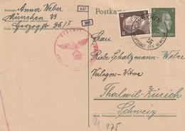 Allemagne Entier Postal Censuré München Pour La Suisse 1943 - Stamped Stationery