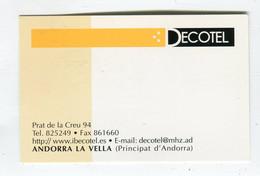 Carte De Visite °_ Carton-Andorre-Décotel-Andorra - Visiting Cards
