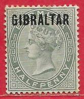 Gibraltar N°1 0,5p Vert (filigrane CA) 1886 * - Gibraltar
